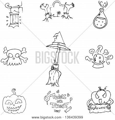 Doodle Halloween holiday element with hand draw