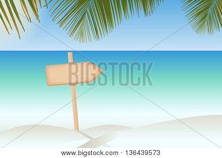 Natural textured wooden arrow signboard on a pole at the tropical beach vector illustration
