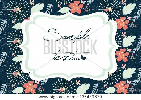 Vector invitation or card with spring flowers. Vector illustration