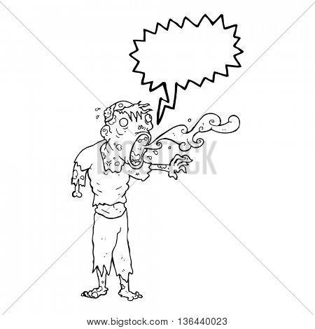 freehand drawn speech bubble cartoon gross zombie
