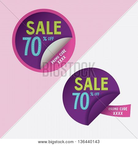 Two round stickers with 70 per cent discount and promo code for web site, for web banners. Eps10 vector