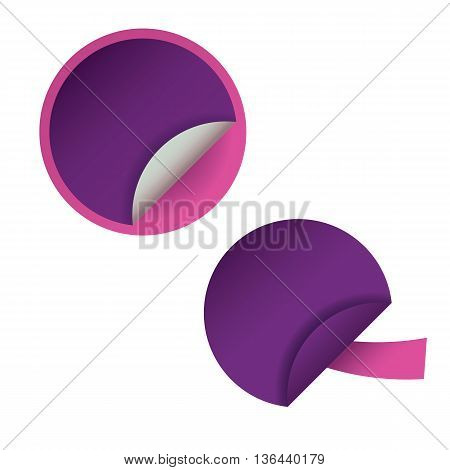 Two round blank stickers for web site, for web banners. Eps10 vector