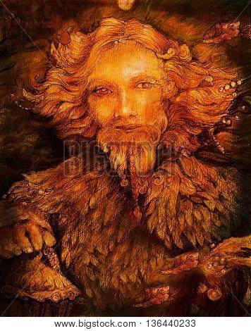golden sunny fairy guardian bringing light, illustration.