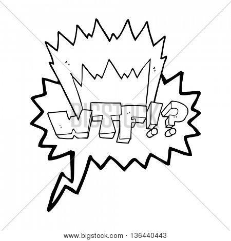 freehand drawn speech bubble cartoon WTF symbol