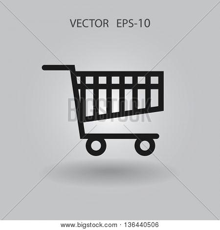 Flat icon of shopping chart