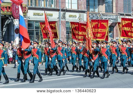St. Petersburg, Russia - 9 May, The parade of military flags and red banners, 9 May, 2016. Holiday-action