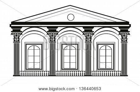 Architectural Classic House facade with Corinthian columns. High detailed architecture frontal view. Vector