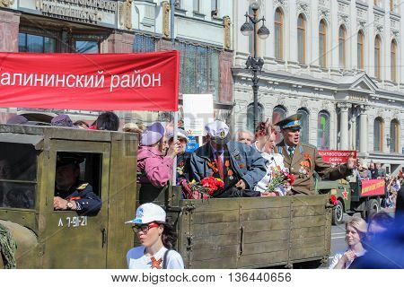St. Petersburg, Russia - 9 May, War veterans in the back of the machine, 2016. Holiday-action