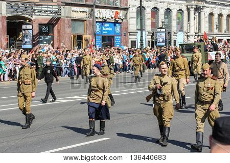 St. Petersburg, Russia - 9 May, Soldiers of World War II, 9 May, 2016. Holiday-action