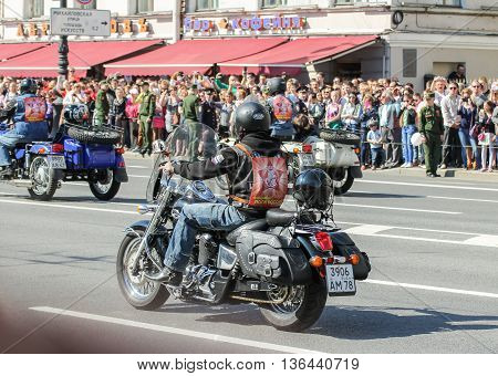St. Petersburg, Russia - 9 May, Bikers with symbols of the immortal regiment, 9 May, 2016. Holiday-action