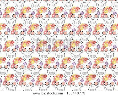 Skull and flowers pattern. traditional painted skull with floral decoration. Vector illustration