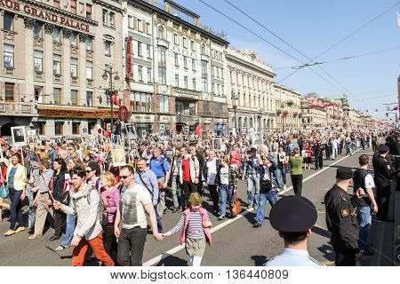 St. Petersburg, Russia - 9 May, Infinite column of people in action