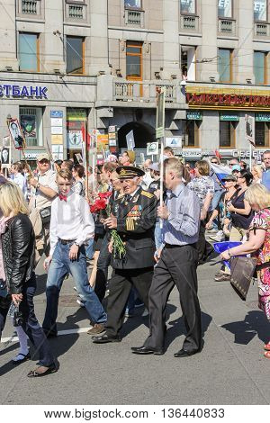 St. Petersburg, Russia - 9 May, Naval officer with medals, 9 May, 2016. Holiday-action