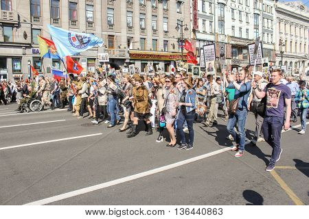 St. Petersburg, Russia - 9 May, The line of young people with portraits, 9 May, 2016. Holiday-action