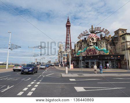 Blackpool Tower On Pleasure Beach In Blackpool