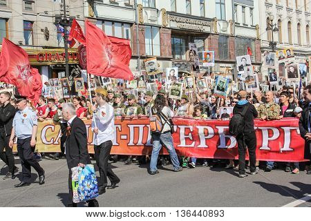 St. Petersburg, Russia - 9 May, A large crowd of people with portraits, 9 May, 2016. Holiday-action