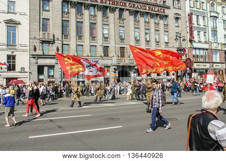 St. Petersburg, Russia - 9 May, Soldiers from the three Soviet flags, 9 May, 2016. Holiday-action