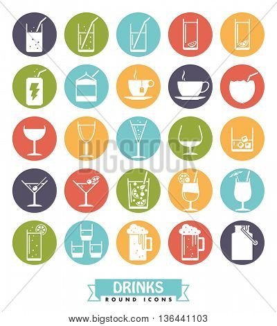 Collection of drink and beverage icons, negative in colored circles