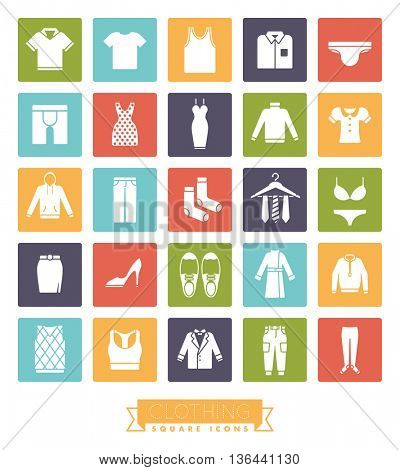 Collection of fashion and clothing vector icons, negative in colored squares