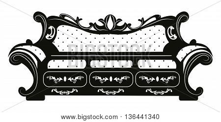 Vintage Baroque rich classic Sofa with luxurious ornaments. Vector