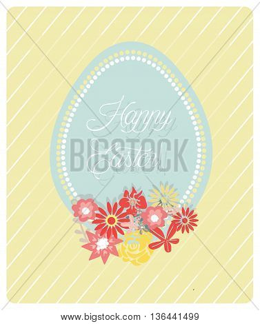 Cute Easter Egg and flowers card and hand written text Happy Easter. Vector invitation Card design. Spring theme