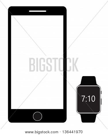 Smartphone and Digital Smart watch isolated on white background