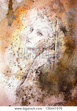 gentle elven drawing on abstract spotted background.