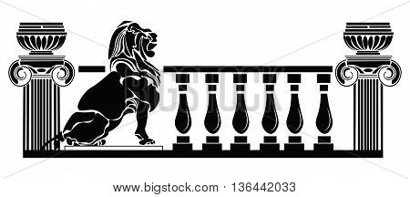 Architectural columns Greek style and Lion silhouette. Vector Roman composition. black color