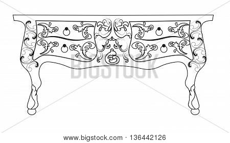 Baroque Vector table furniture with Royal Luxury ornaments. Vector