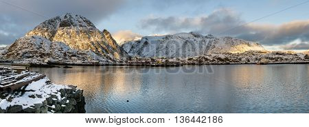 Lofoten islands panorama during sundown North Norway