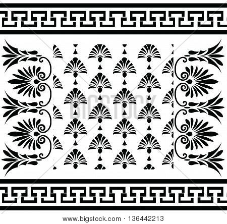 Vector set Traditional vintage Greek ornament (Meander) and floral pattern. Vector greek style ornament composition background