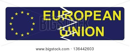 European Union broken sign resulting from the exit of the United Kingdom following the June 2016 referendum isolated on white background