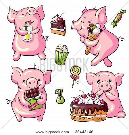 Vector set - cartoon pigs and sweets. Hand-drawn illustration.