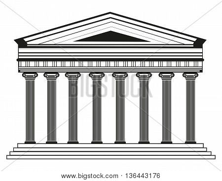 oman/Greek Vector Pantheon temple with Doric columns. High detailed architecture frontal view