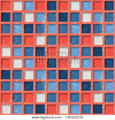 Seamless pattern with squares. Retro style with grunge effect. The illustration contains transparency and effects. EPS10