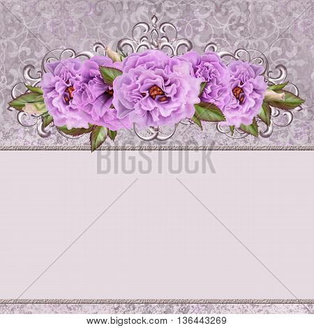 Bouquet of pink flowers camellia in a silver frame. Silver weave. Floral background.