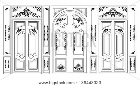 Vector wainscoting Decorative Damask Ornamented frames for walls or backgrounds. Interior design decoration panels. Classic Baroque Vintage style. Vector frame