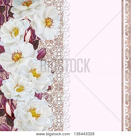 Vintage postcard. Old style. Bunch of white wild roses on a pastel background invitation card.