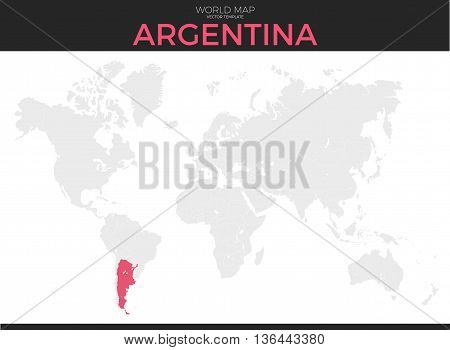Argentine Republic location modern detailed vector map. All world countries without names. Vector template of beautiful flat grayscale map design with Argentina country and border location