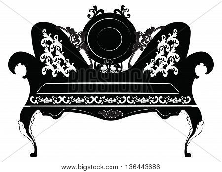 Vector Vintage Baroque Sofa furniture round shaped with luxurious ornaments. Vector sketch
