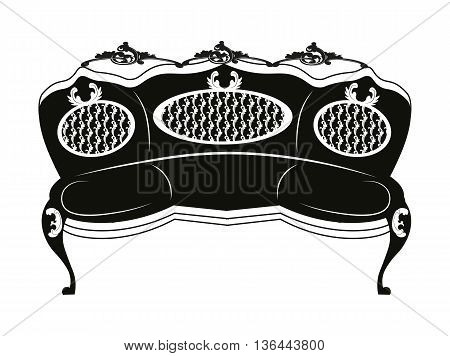 Baroque style sofa round shape with rich ornaments in black. Vector sketch