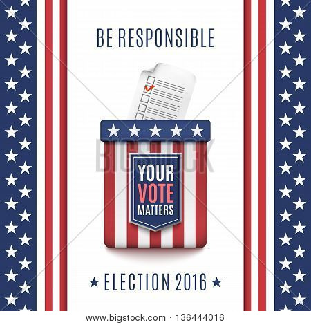 American Election 2016 background with Ballot box and Voter Registration Application form. Vector illustration.