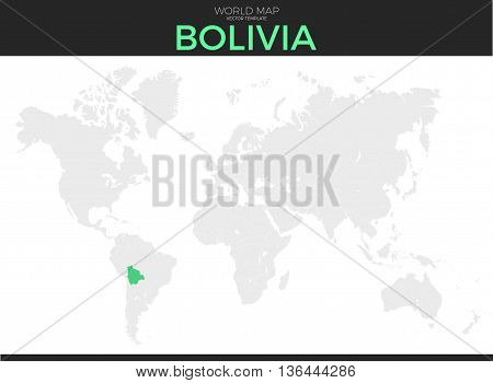Plurinational State of Bolivia location modern detailed vector map. All world countries without names. Vector template of beautiful flat grayscale map design with selected country and border location