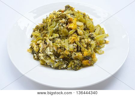 Fried pickle with egg on white background,