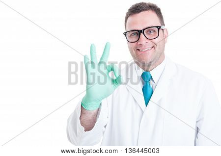 Male Scientist Smiling And Showing Okay Gesture