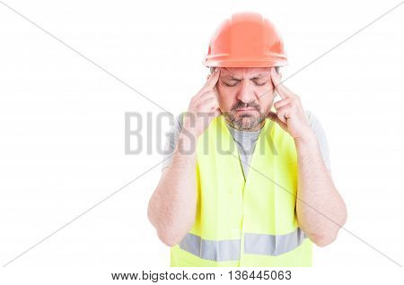 Stressed Young Constructor Having Headache Or Migraine