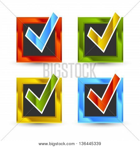 square shiny colored check marks with black background and shadow