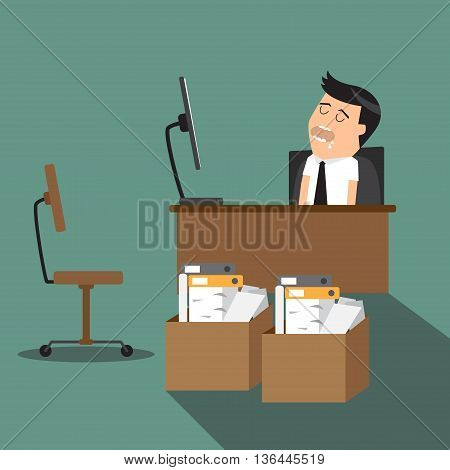 Overworked tired cartoon businessman sleeping at his desk in office in front of computer vector illustration.