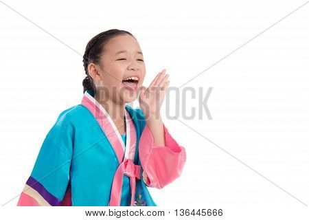 Asian girl in Korean Traditional Dress shouting loud on white background isolated