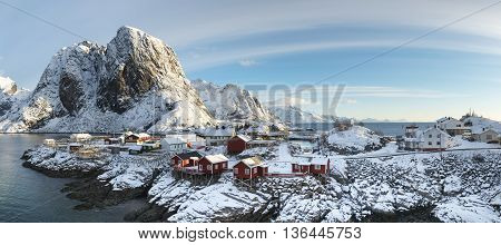 Panorama of Hamnoy island in winter time Reine Lofoten Islands North Norway